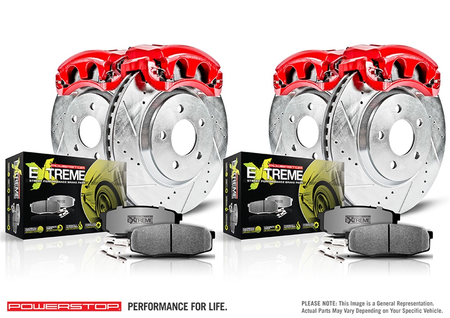 POWER STOP - Z26 Extreme Street Warrior 1-Click Brake Kit w/Calipers (Front and Rear) - PWS KC2853A-26
