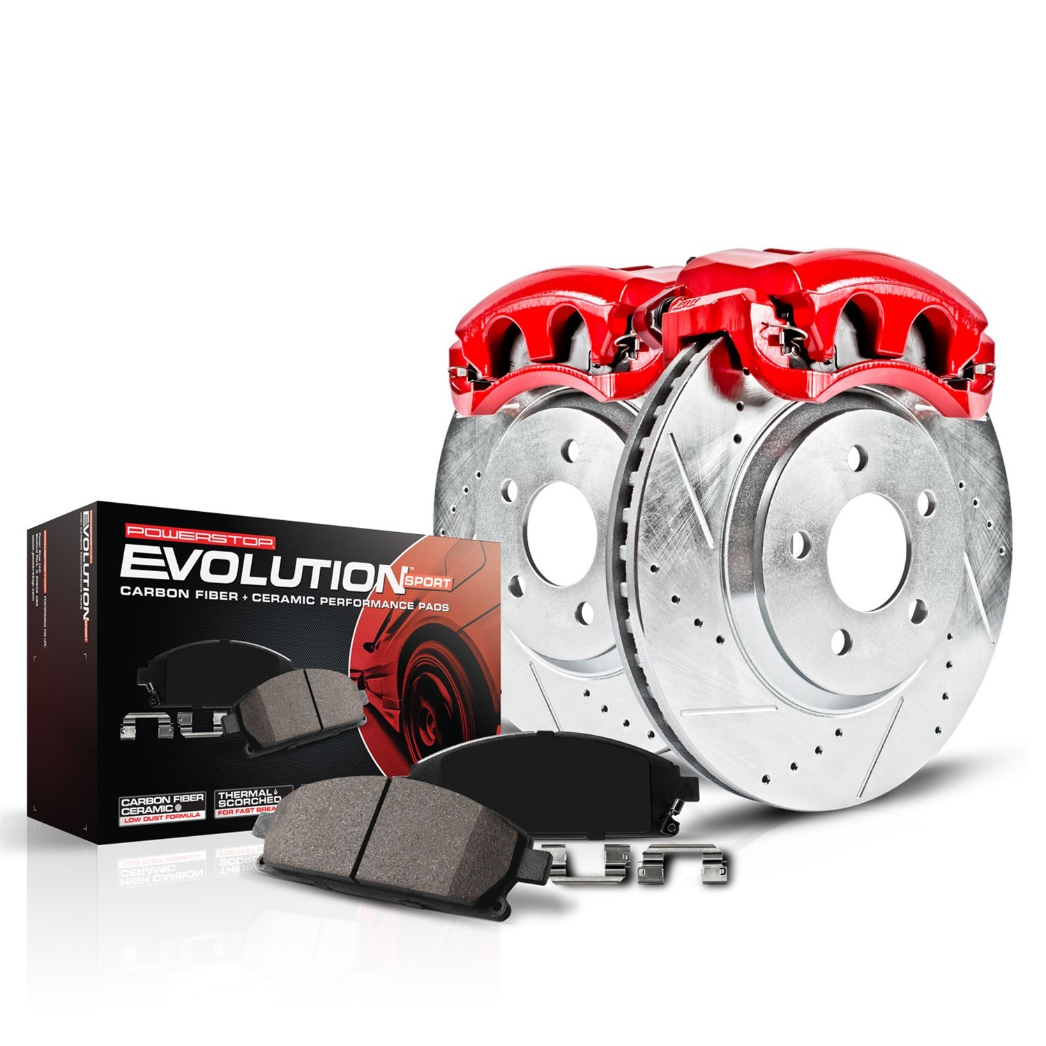 POWER STOP - Z23 Evolution Sport Performance 1-Click Brake Kit w/Calipers (Front) - PWS KC1033