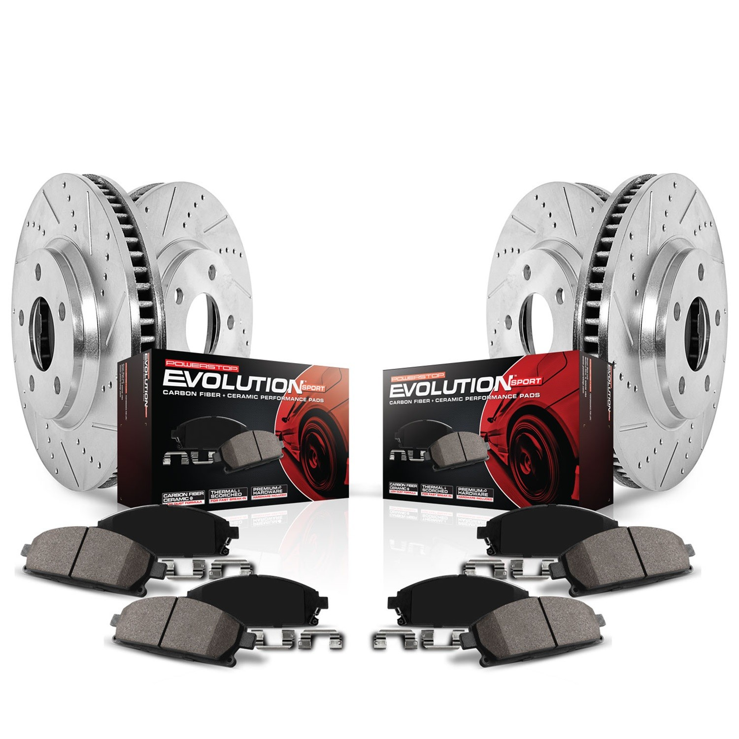 POWER STOP - Z23 Evolution Sport Performance 1-Click Brake Kit (Front and Rear) - PWS K2853
