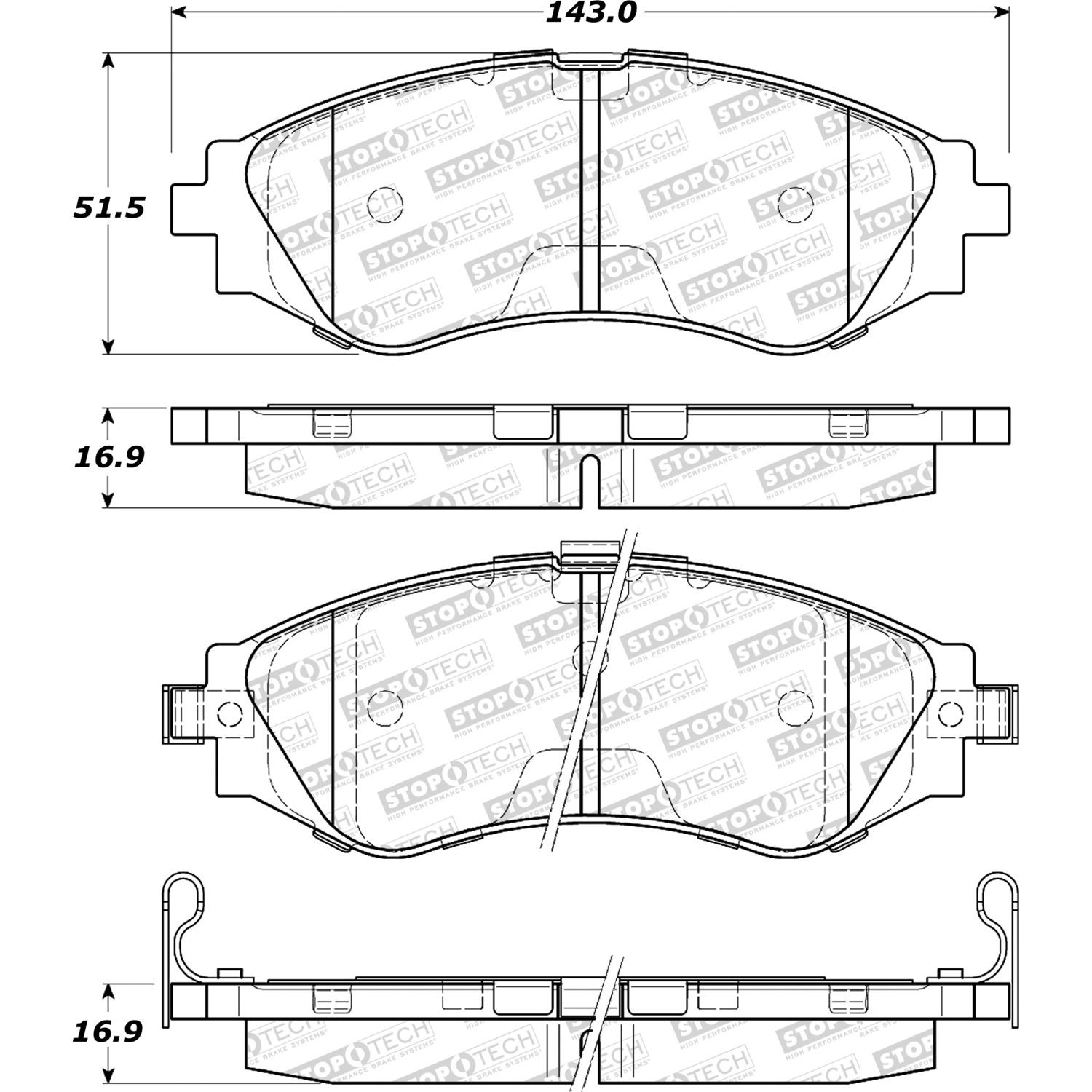 STOPTECH - StopTech Street Select Disc Brake Pad Sets (Front) - SOH 305.07970