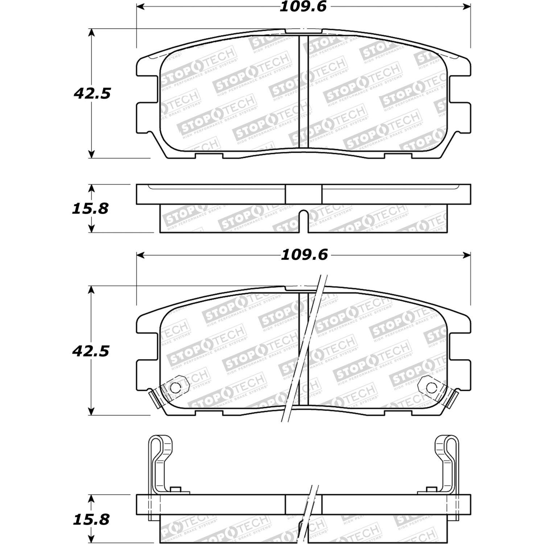 STOPTECH - StopTech Street Disc Brake Pad Sets (Rear) - SOH 308.05800