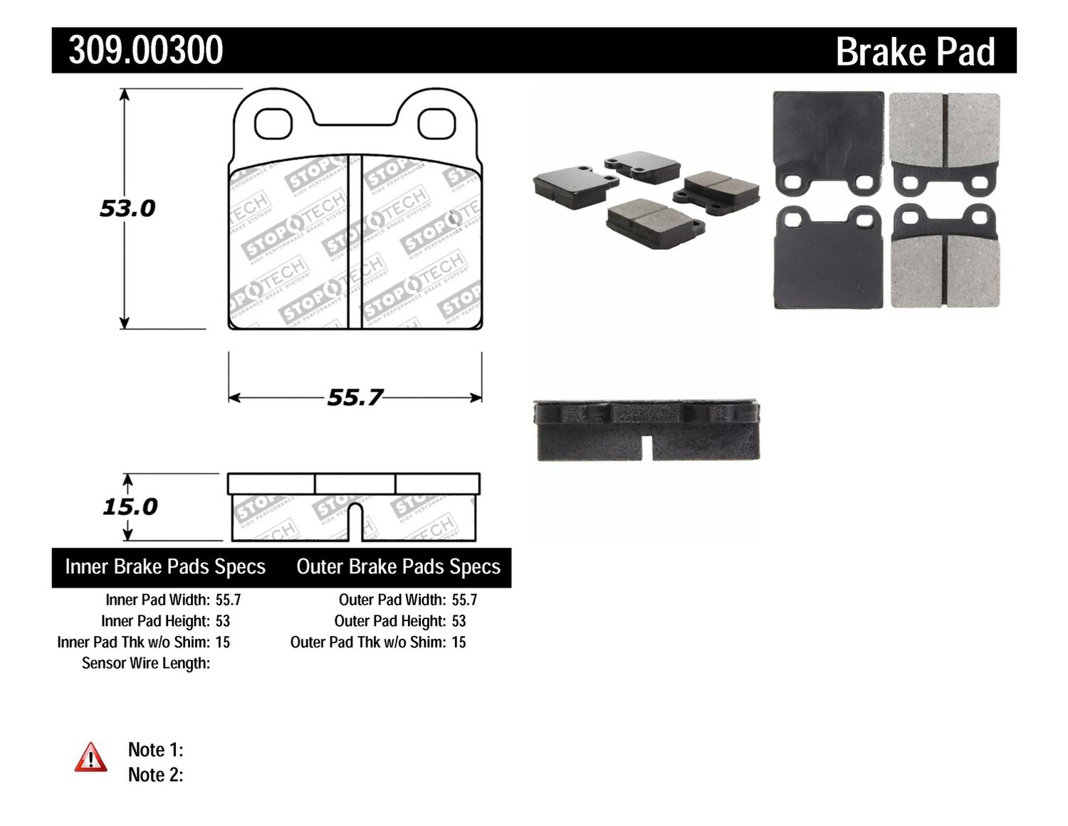 STOPTECH - StopTech Sport Brake Pads (Front) - SOH 309.00300