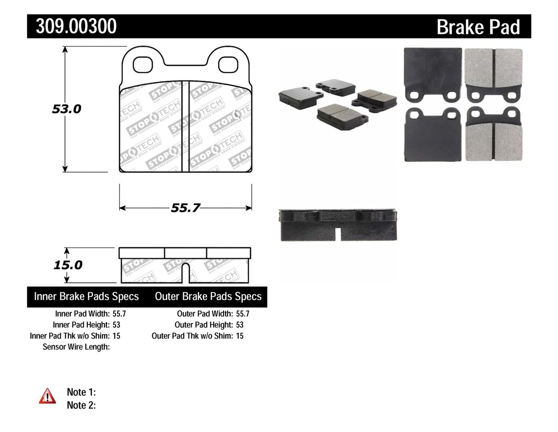 STOPTECH - StopTech Sport Brake Pads (Rear) - SOH 309.00300