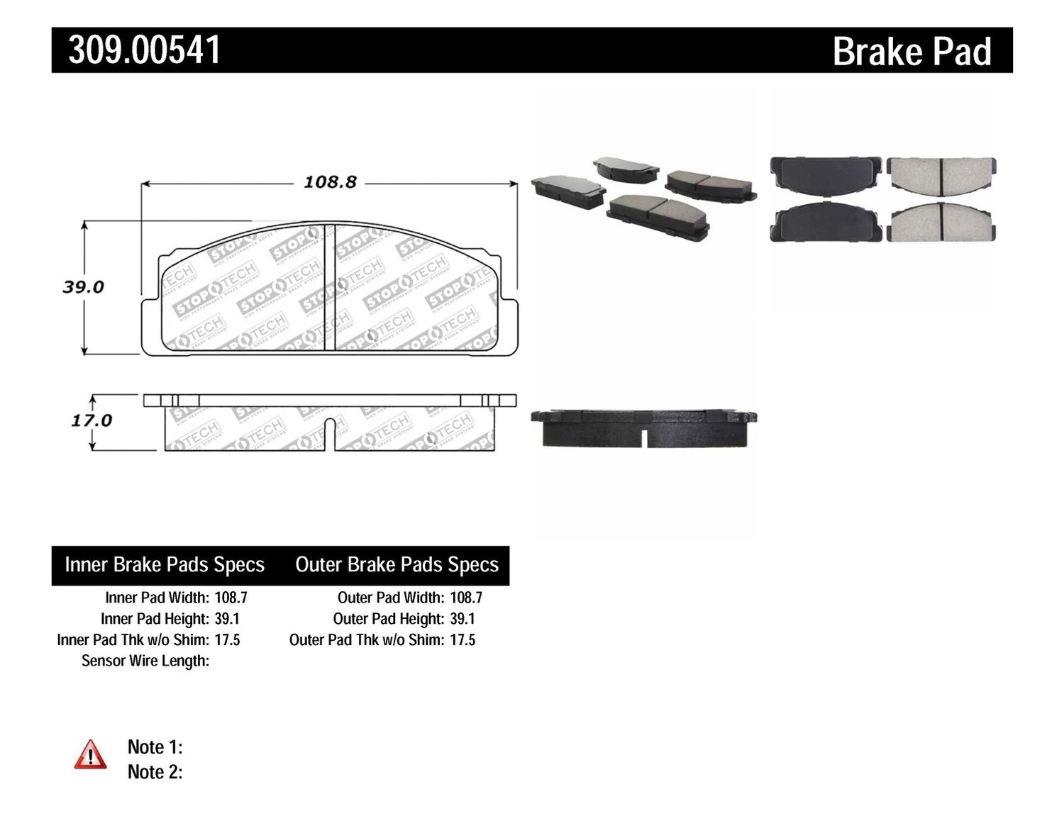 STOPTECH - StopTech Sport Brake Pads (Front) - SOH 309.00541