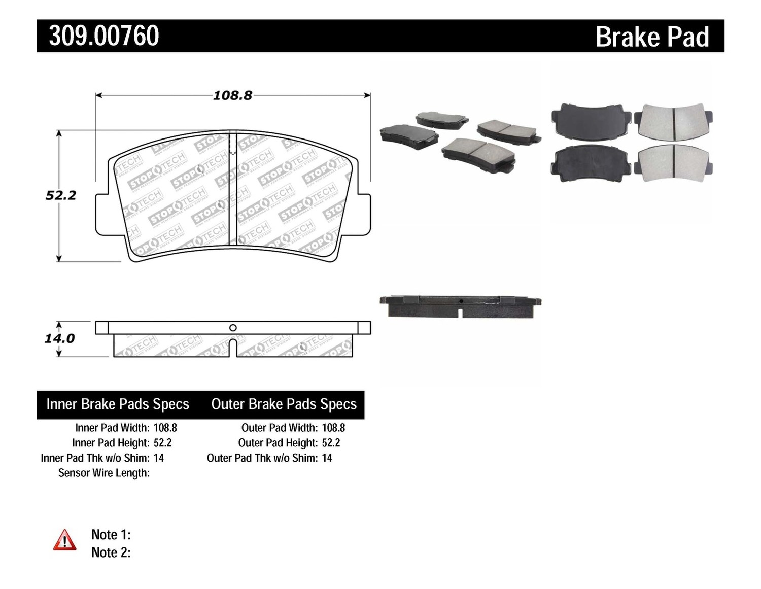 STOPTECH - StopTech Sport Brake Pads (Front) - SOH 309.00760