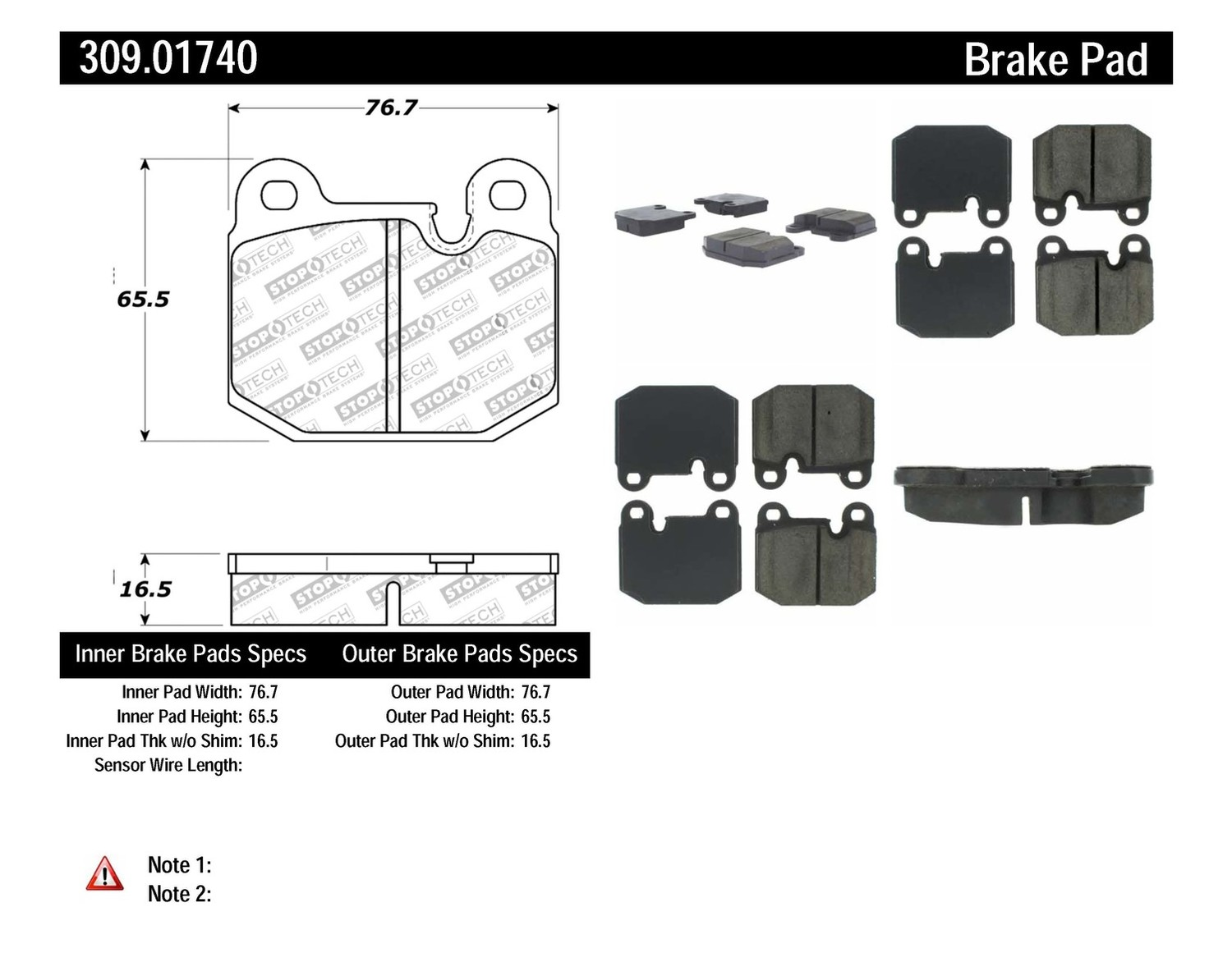 STOPTECH - StopTech Sport Brake Pads (Front) - SOH 309.01740