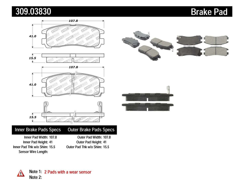 STOPTECH - StopTech Sport Disc Brake Pad Sets (Rear) - SOH 309.03830
