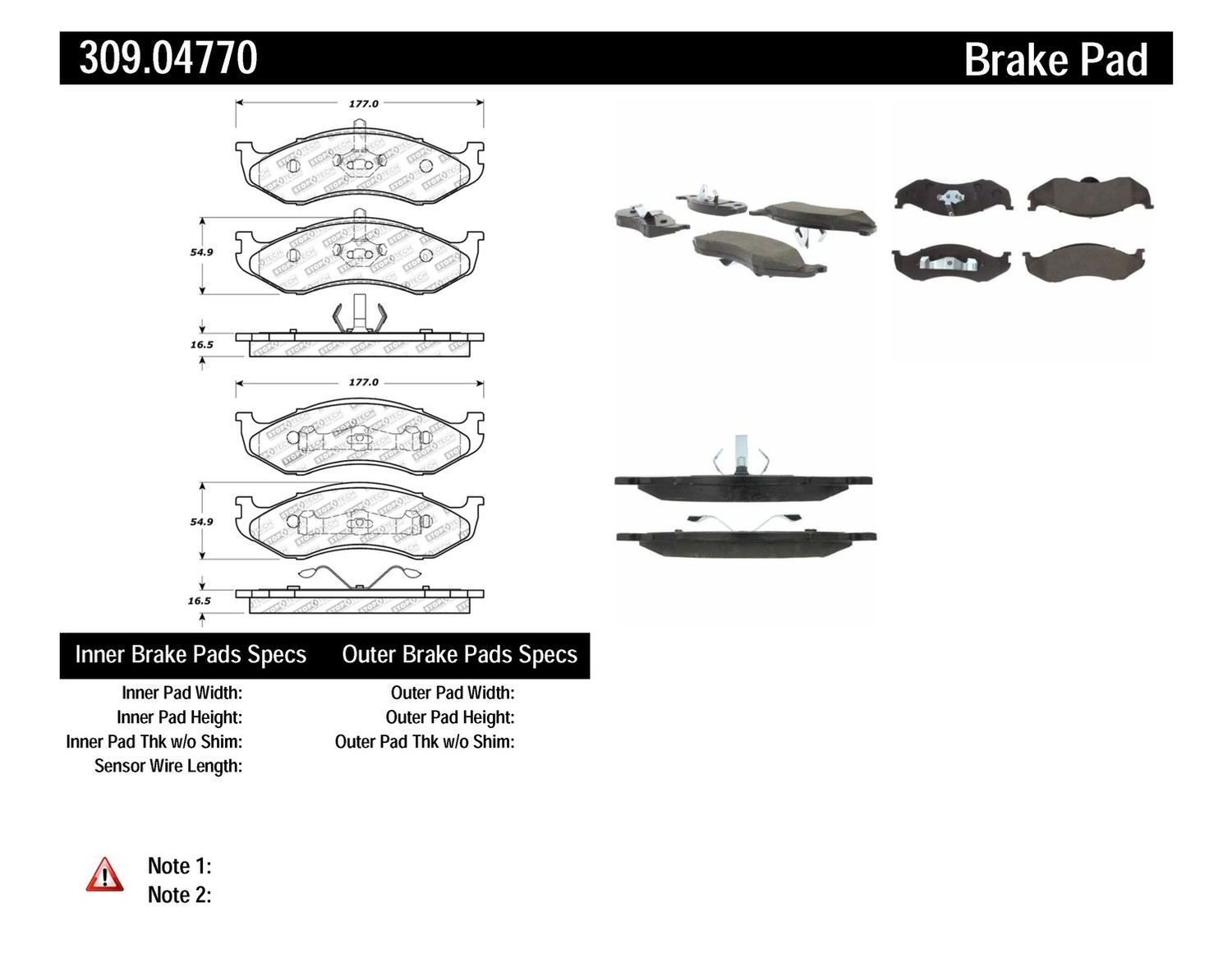 STOPTECH - StopTech Sport Disc Brake Pad Sets (Front) - SOH 309.04770