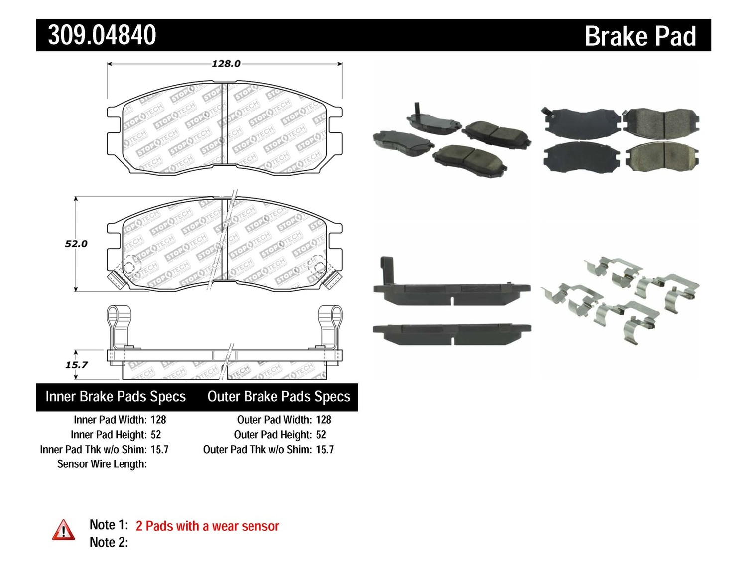 STOPTECH - StopTech Sport Disc Brake Pad Sets (Front) - SOH 309.04840