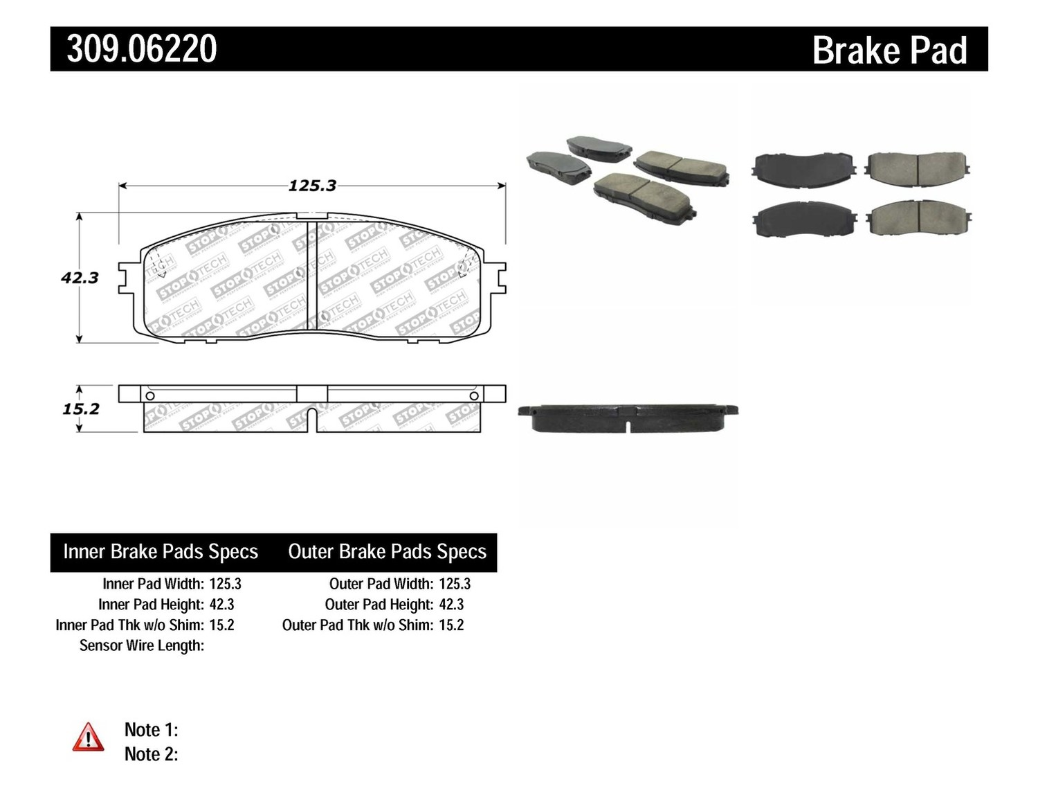 STOPTECH - StopTech Sport Brake Pads (Rear) - SOH 309.06220