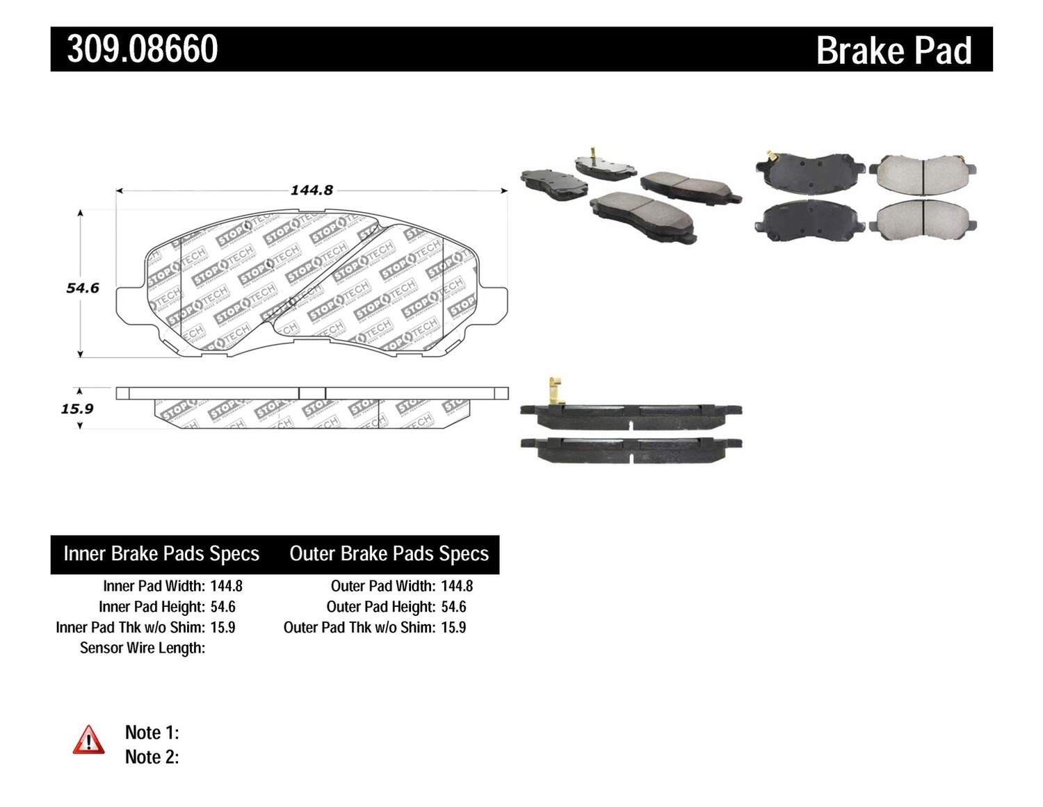 STOPTECH - StopTech Sport Disc Brake Pad Sets (Front) - SOH 309.08660