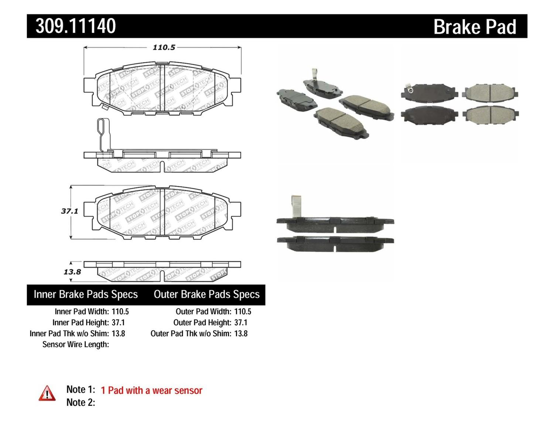 STOPTECH - StopTech Sport Disc Brake Pad Sets (Rear) - SOH 309.11140