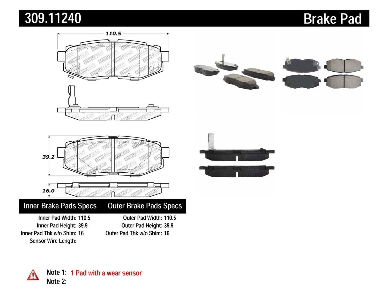 STOPTECH - StopTech Sport Disc Brake Pad Sets (Rear) - SOH 309.11240