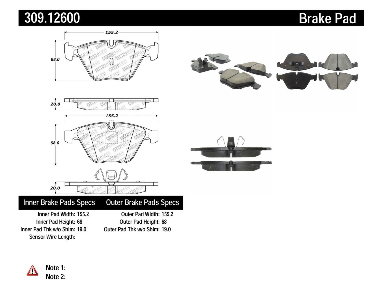 STOPTECH - StopTech Sport Disc Brake Pad Sets (Front) - SOH 309.12600