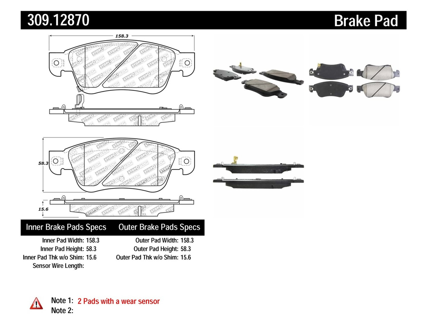 STOPTECH - StopTech Sport Disc Brake Pad Sets (Front) - SOH 309.12870