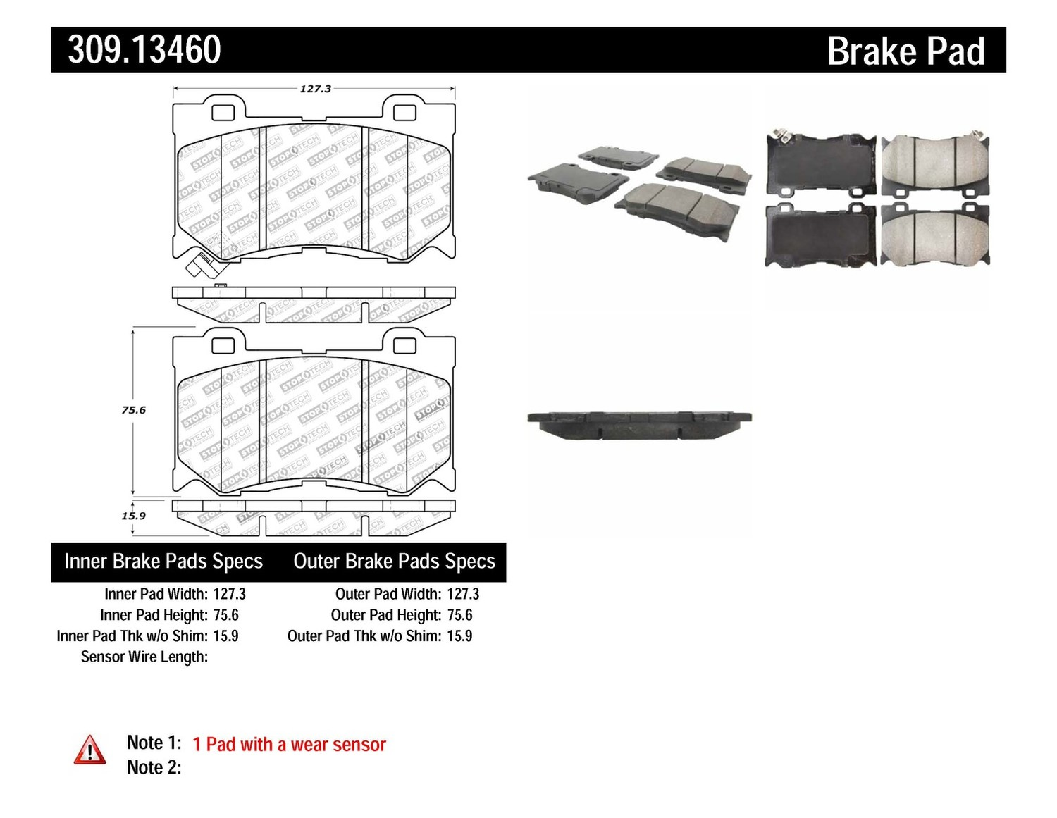 STOPTECH - StopTech Sport Disc Brake Pad Sets (Front) - SOH 309.13460