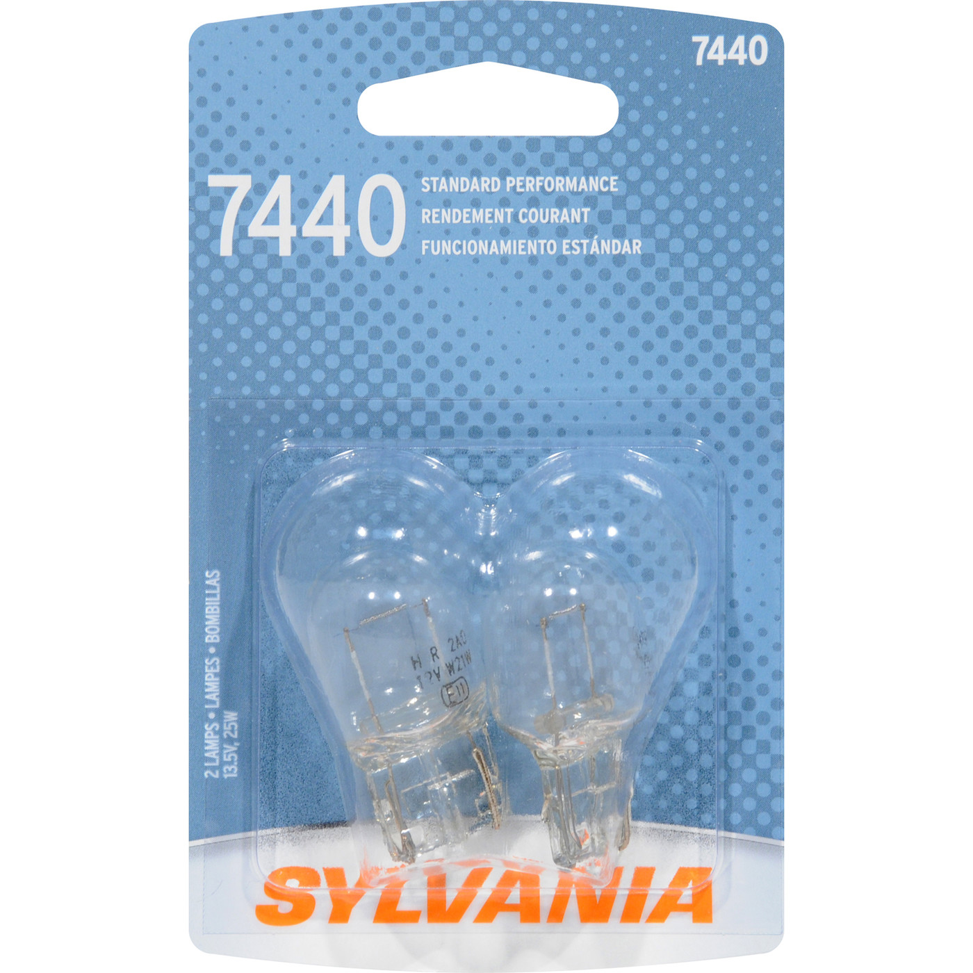 SYLVANIA RETAIL PACKS - Blister Pack Twin Center High Mount Stop Light Bulb - SYR 7440.BP2