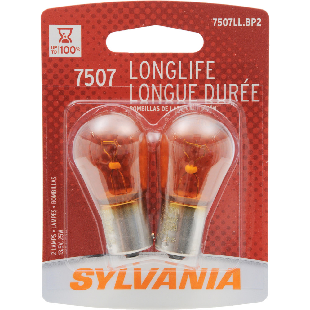SYLVANIA RETAIL PACKS - Long Life Blister Pack Twin Turn Signal Light Bulb (Rear) - SYR 7507LL.BP2