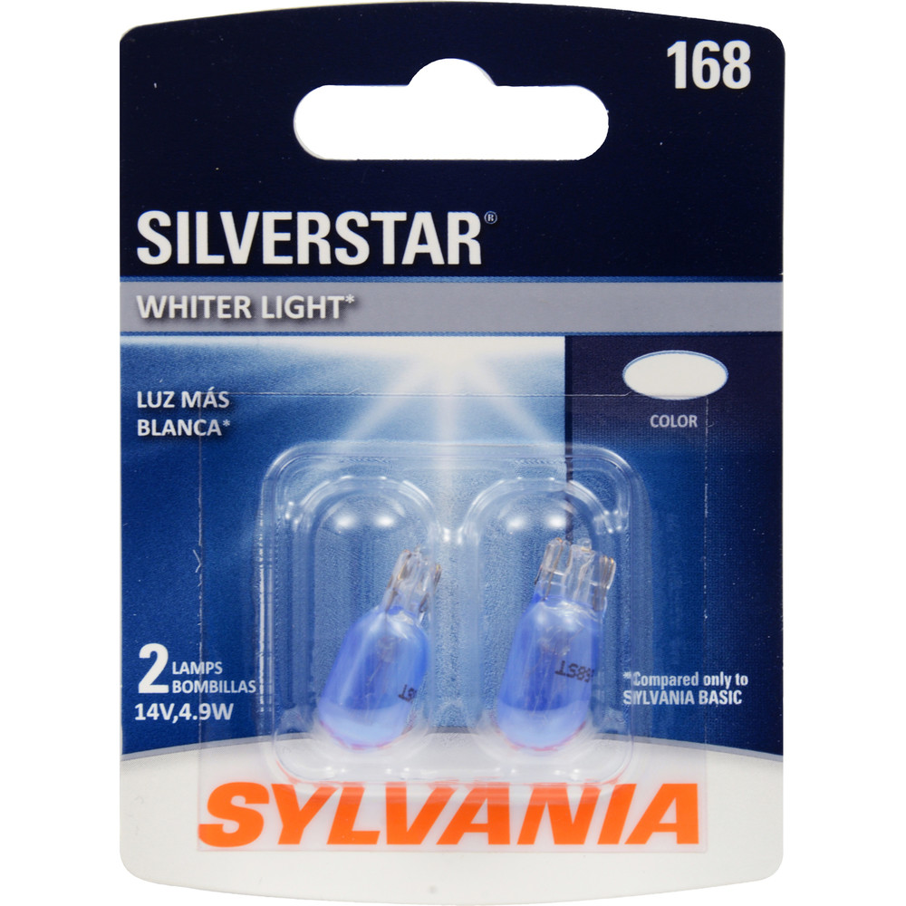 SYLVANIA RETAIL PACKS - SilverStar Blister Pack Twin Side Marker Light Bulb (Front) - SYR 168ST.BP2