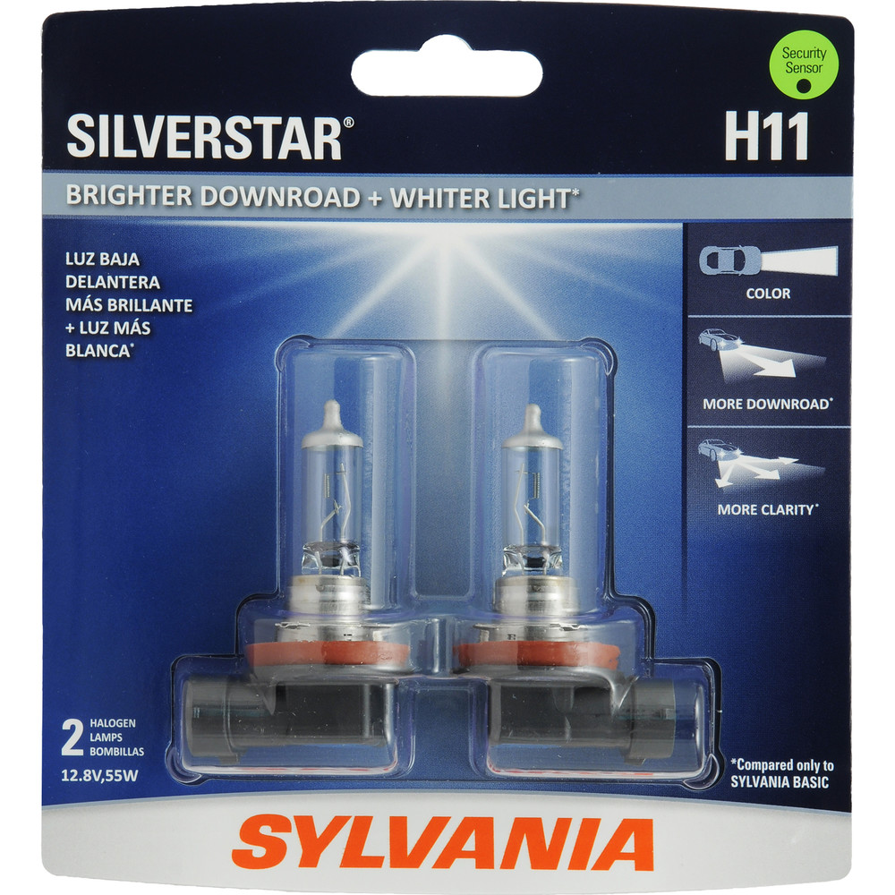 SYLVANIA RETAIL PACKS - SilverStar Blister Pack Twin Headlight Bulb (Low Beam) - SYR H11ST.BP2