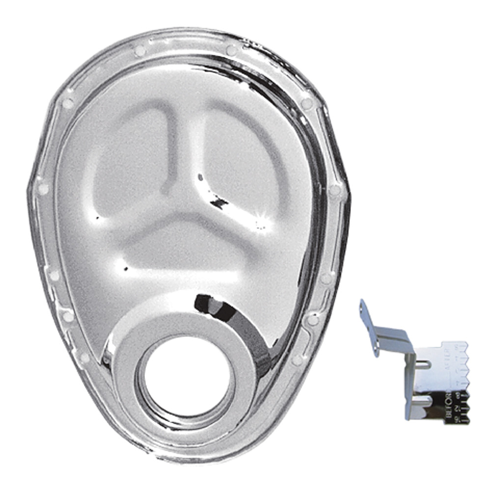 TRANS DAPT PERFORMANCE - Chrome Timing Chain Cover And Timing Tab- Chevy 4.3l V6 Or Sb Chevy V8(n - TRA 4934