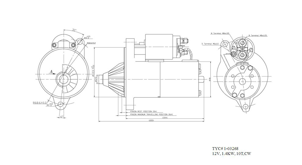 TYC - Starter Motor - TYC 1-03268