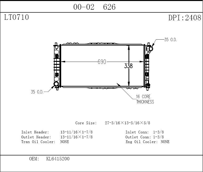 TYC - Radiator Assembly - TYC 2408
