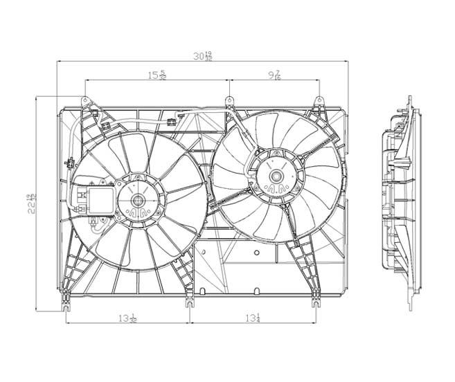 TYC - Dual Radiator And Condenser Fan Assembly - TYC 621640