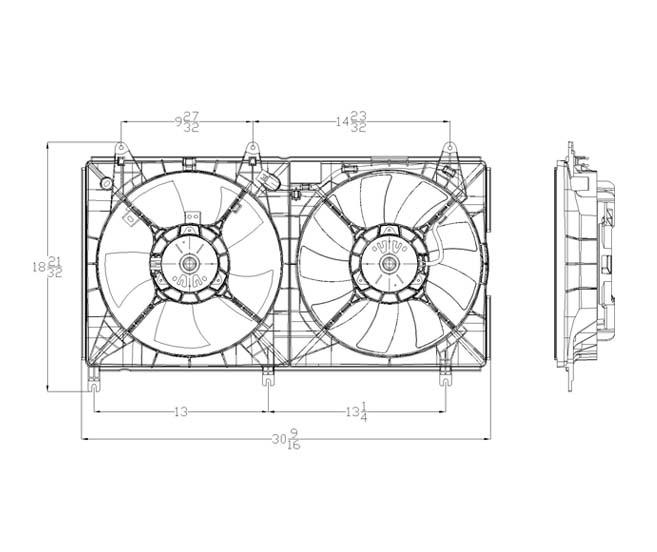 TYC - Dual Radiator And Condenser Fan Assembly - TYC 621650