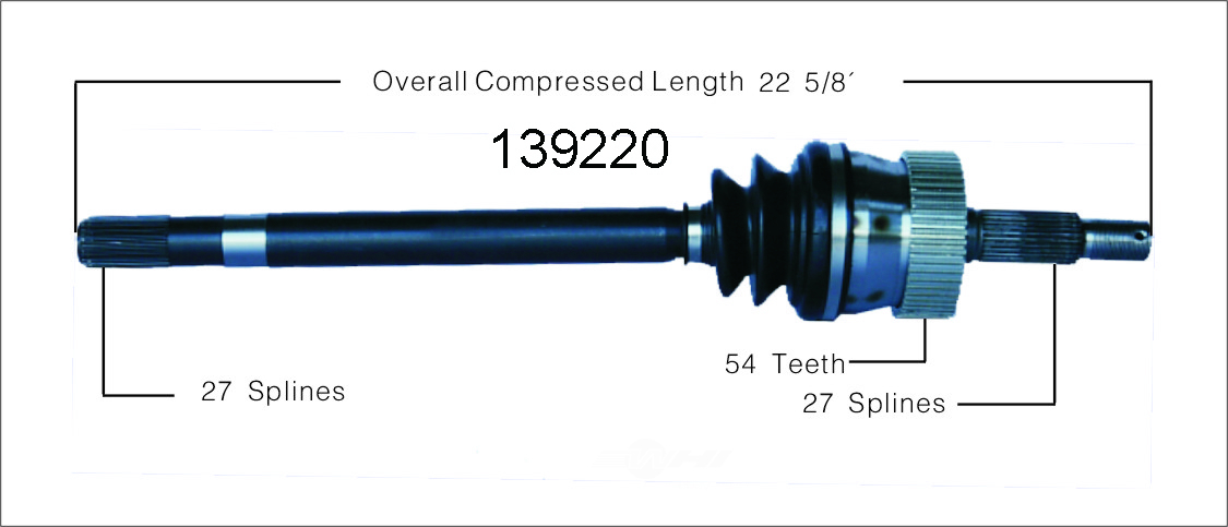 WORLDPARTS CV AXLES - New CV Axle Shaft (Front Left) - WPA 139220