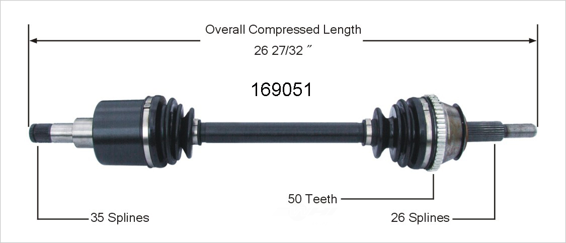 WORLDPARTS CV AXLES - CV Axle Shaft (Front Right) - WPA 169051