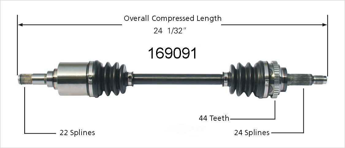 WORLDPARTS CV AXLES - New CV Axle Shaft (Front Left) - WPA 169091