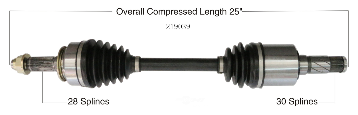 WORLDPARTS CV AXLES - CV Axle Shaft (Front Left) - WPA 219039