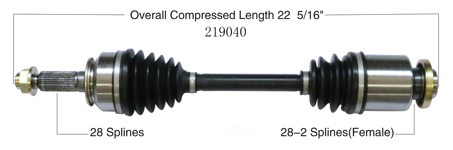 WORLDPARTS CV AXLES - CV Axle Shaft (Front Right) - WPA 219040